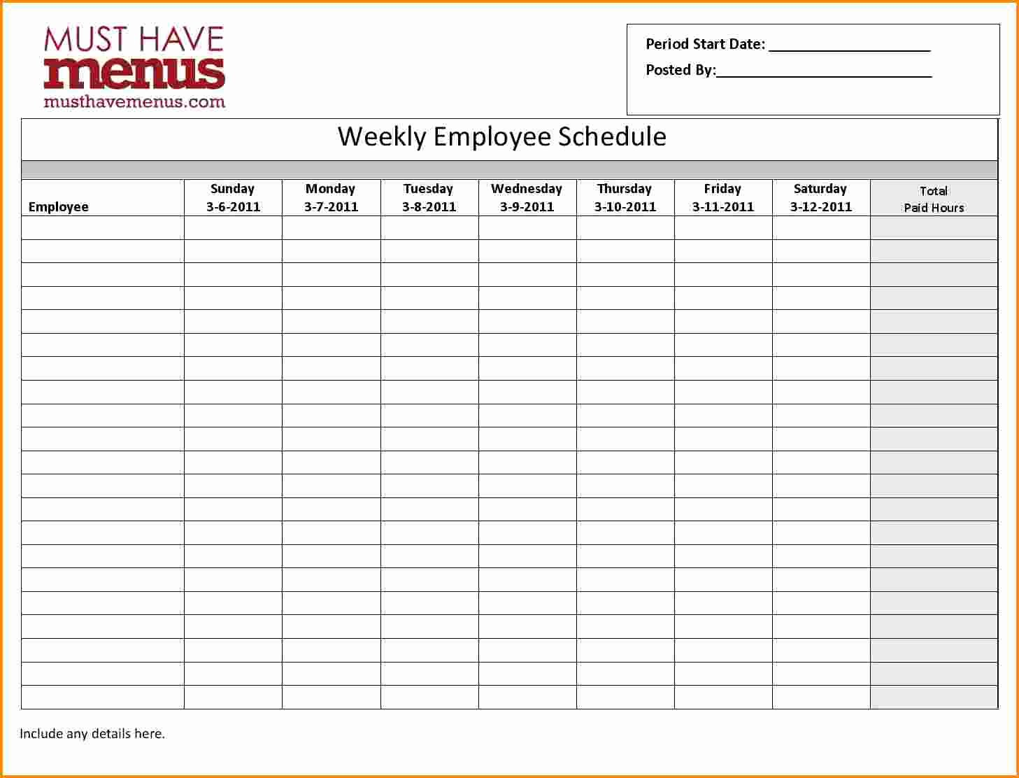Employee Monthly Schedule Template Lovely 7 Monthly Employee Schedule Template