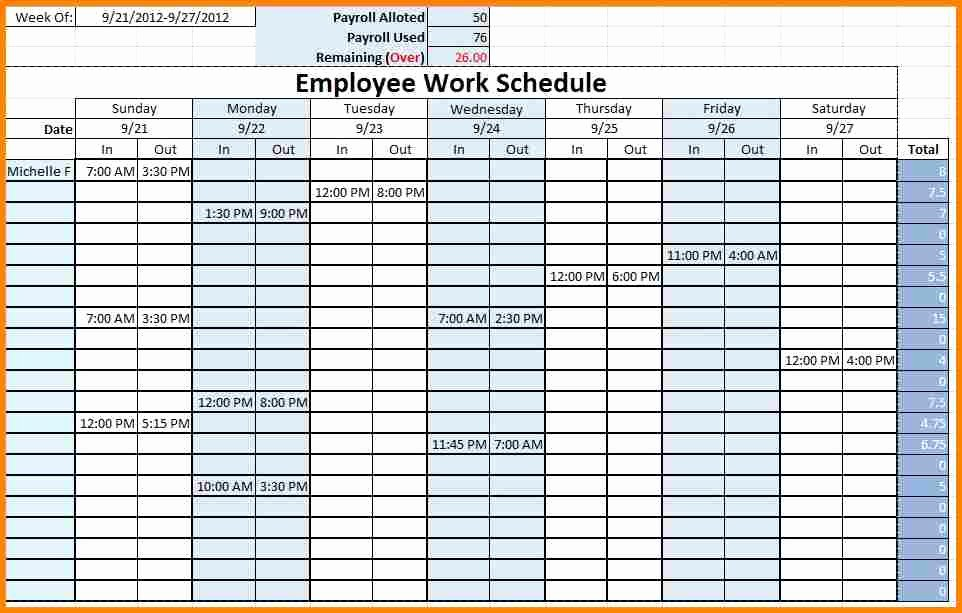 Employee Monthly Schedule Template Lovely Blank Weekly Employee Schedule Template to Pin On