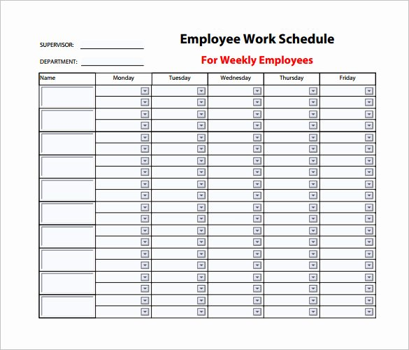 Employee Monthly Schedule Template New Employee Work Schedule Template – 10 Free Word Excel