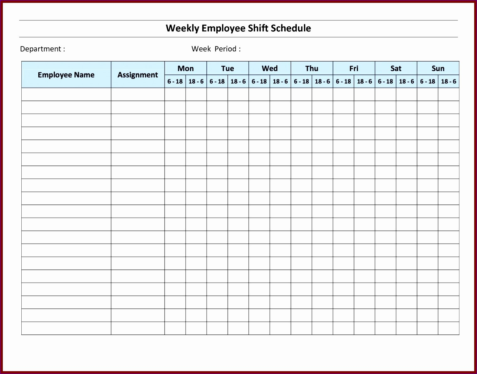 Employee Monthly Schedule Template Unique 7 Monthly Staff Schedule Template Excel Exceltemplates
