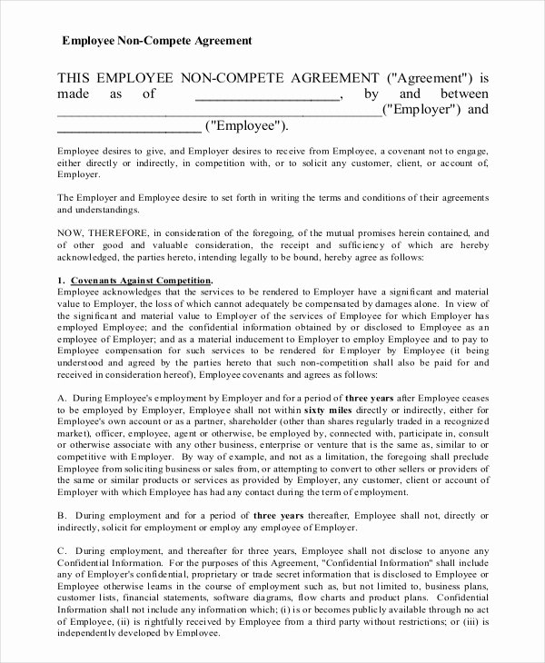 Employee Non Compete Agreement Template Awesome 11 Employee Non Pete Agreement Templates Free Sample