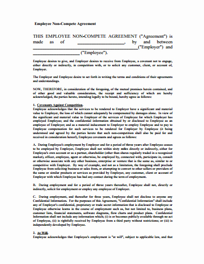 Employee Non Compete Agreement Template Awesome Non Pete Agreement Free Download Create Edit Fill