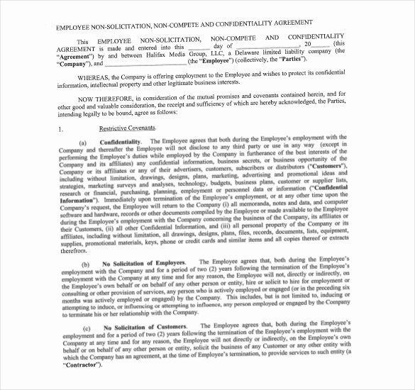 Employee Non Compete Agreement Template Awesome Non Pete Agreement Template – What You Need for A Clear