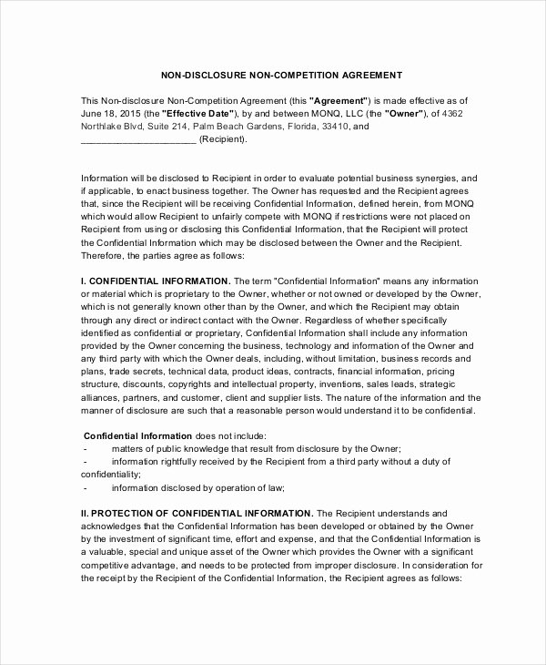 Employee Non Compete Agreement Template Beautiful 13 Non Pete Agreements Free Word Pdf format