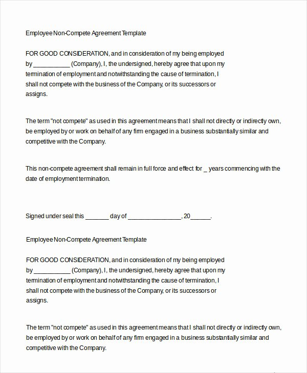 Employee Non Compete Agreement Template Beautiful Employment Agreement Template 15 Free Word Pdf format