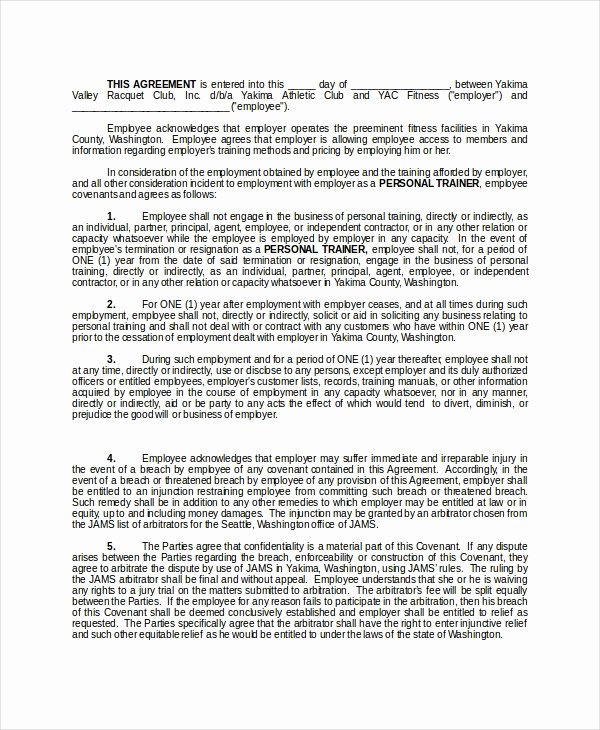 Employee Non Compete Agreement Template Best Of 13 Non Pete Agreements Free Word Pdf format