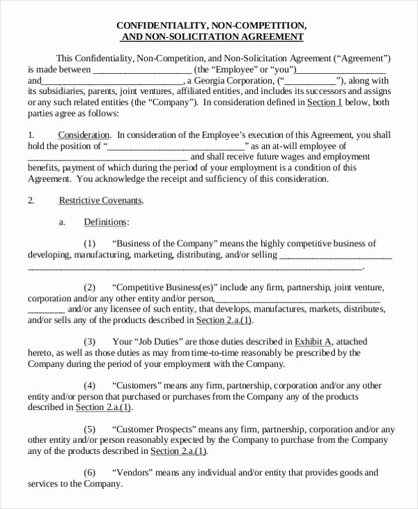 Employee Non Compete Agreement Template Best Of Business Non Pete Agreement – 11 Free Word Pdf
