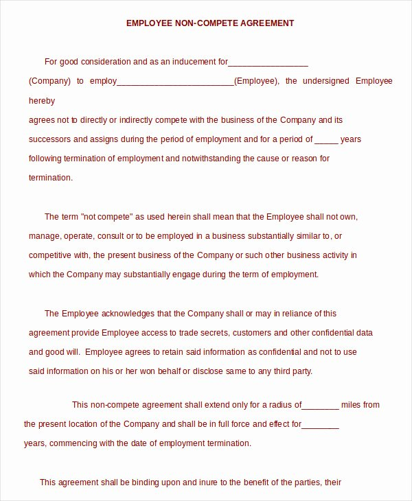 Employee Non Compete Agreement Template Best Of Non Pete Agreement Template 9 Free Sample Example