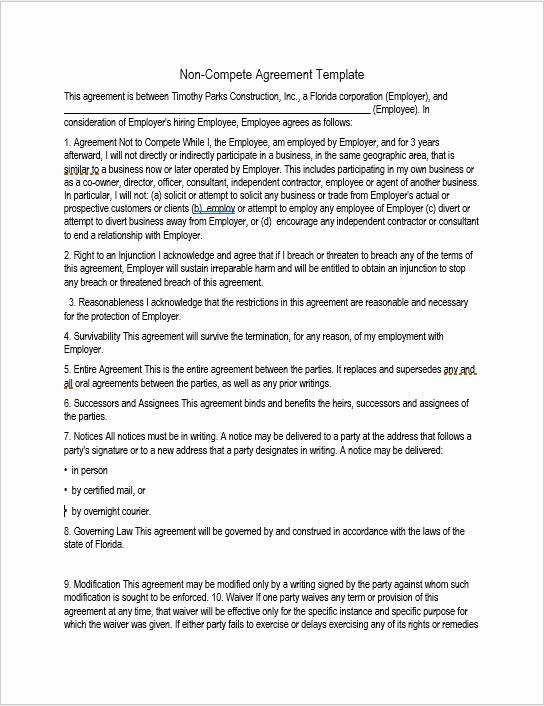 Employee Non Compete Agreement Template Elegant 37 Free Non Pete Agreement Templates Ms Word