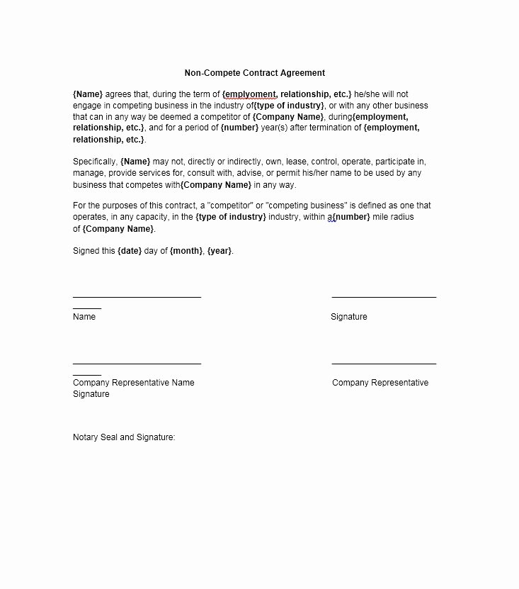 Employee Non Compete Agreement Template Elegant 39 Ready to Use Non Pete Agreement Templates Free