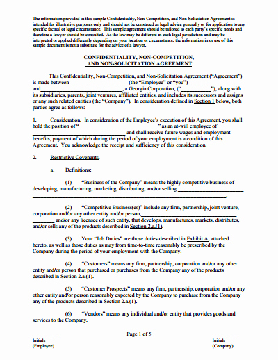 Employee Non Compete Agreement Template Elegant Non Pete Agreement Free Download Create Edit Fill