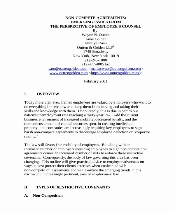 Employee Non Compete Agreement Template Fresh 11 Employee Non Pete Agreement Templates Free Sample