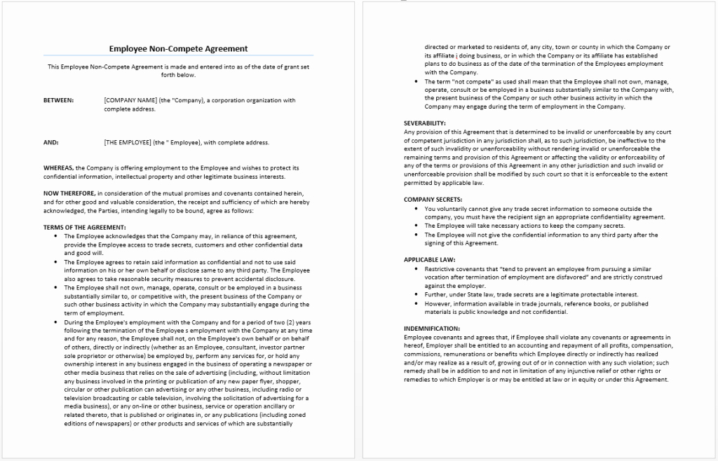 Employee Non Compete Agreement Template Fresh Employee Non Pete Agreement Template Word Templates
