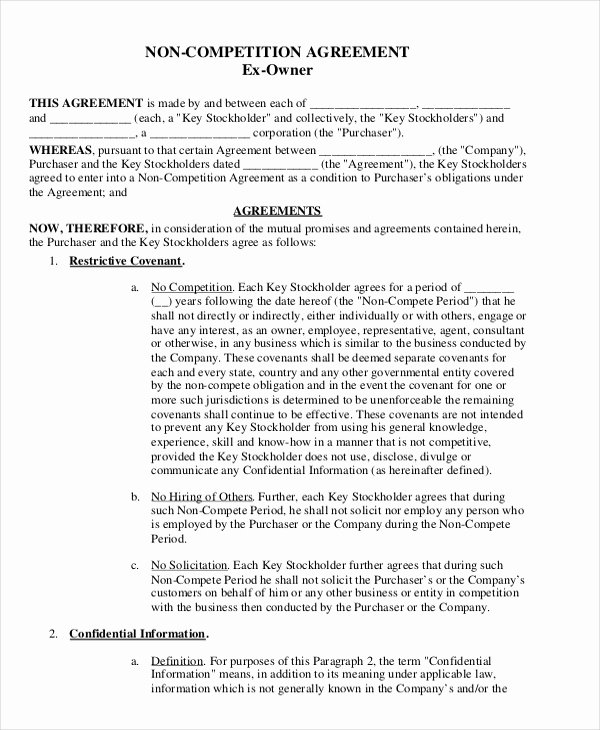 Employee Non Compete Agreement Template Inspirational attorney Non Pete Agreement Template 9 Free Word