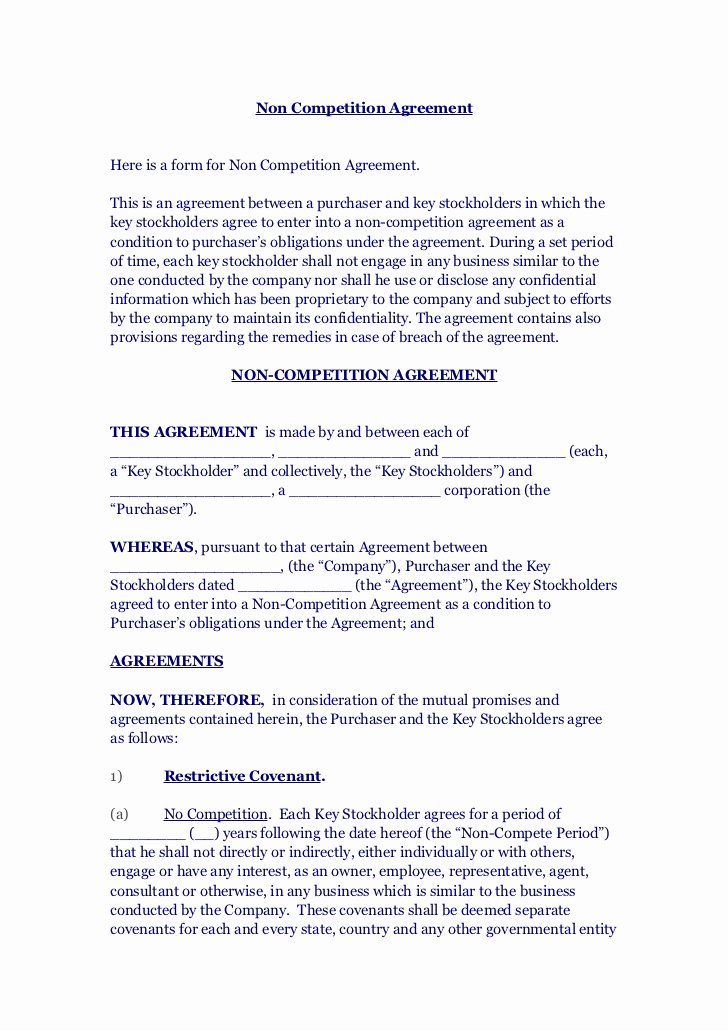 Employee Non Compete Agreement Template Inspirational Non Petition Agreement