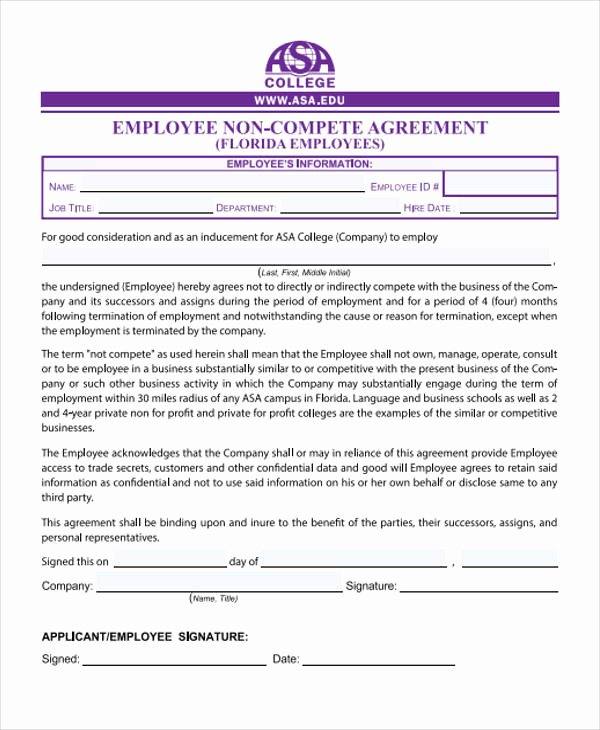 Employee Non Compete Agreement Template Lovely 40 Free Sample Agreements