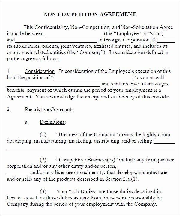 Employee Non Compete Agreement Template Luxury Non Pete Agreement 7 Free Pdf Doc Download