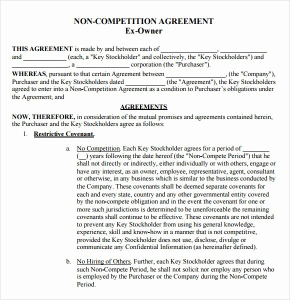 Employee Non Compete Agreement Template New 7 Non Pete Agreement Samples Examples Templates