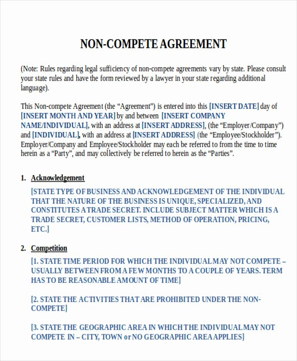Employee Non Compete Agreement Template Unique 9 Sample Word Non Pete Agreements