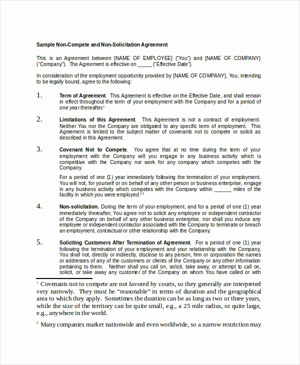 Employee Non Compete Agreement Template Unique Non Pete Agreement 11 Free Word Pdf Documents