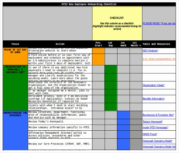 Employee Onboarding Checklist Template Awesome New Hire Checklist Templates Free Word Excel Pdf