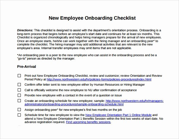 Employee Onboarding Checklist Template Beautiful Sample New Hire Checklist Template 11 Documents In Pdf