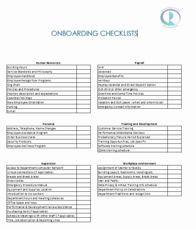 Employee Onboarding Checklist Template Best Of Keep Your Keepers 5 Tips to Successful Boarding