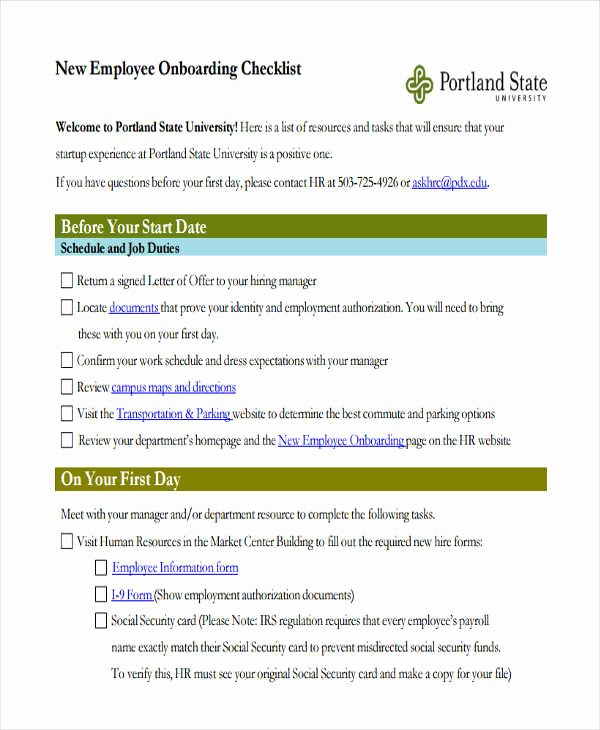 Employee Onboarding Checklist Template Fresh Employee Checklist Templates 9 Free Samples Examples