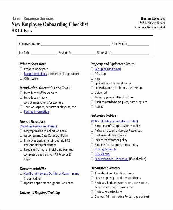 Employee Onboarding Checklist Template Inspirational 27 Hr Checklist Examples Samples