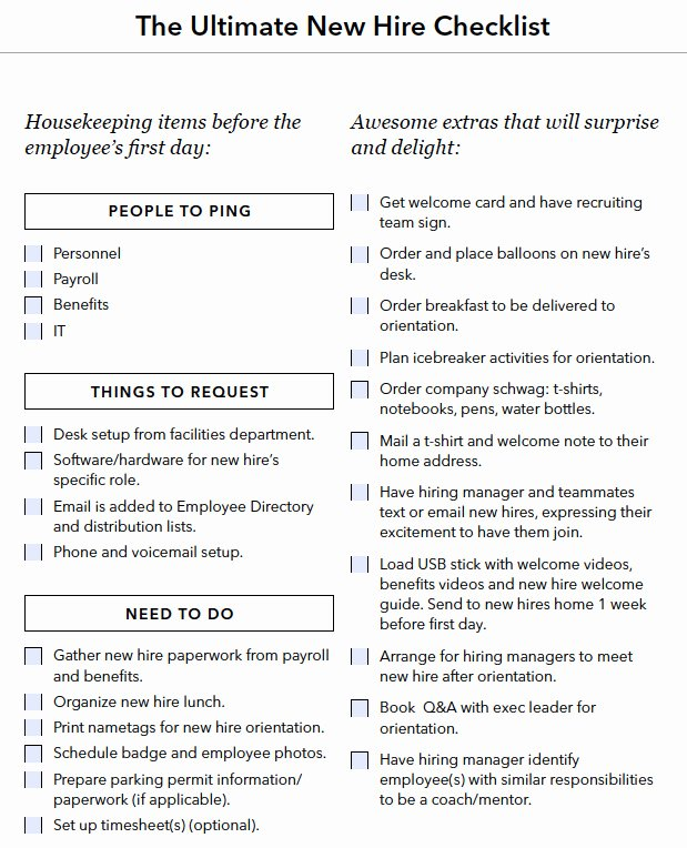Employee Onboarding Checklist Template New A Checklist for Everything You Need to Do when You Hire A