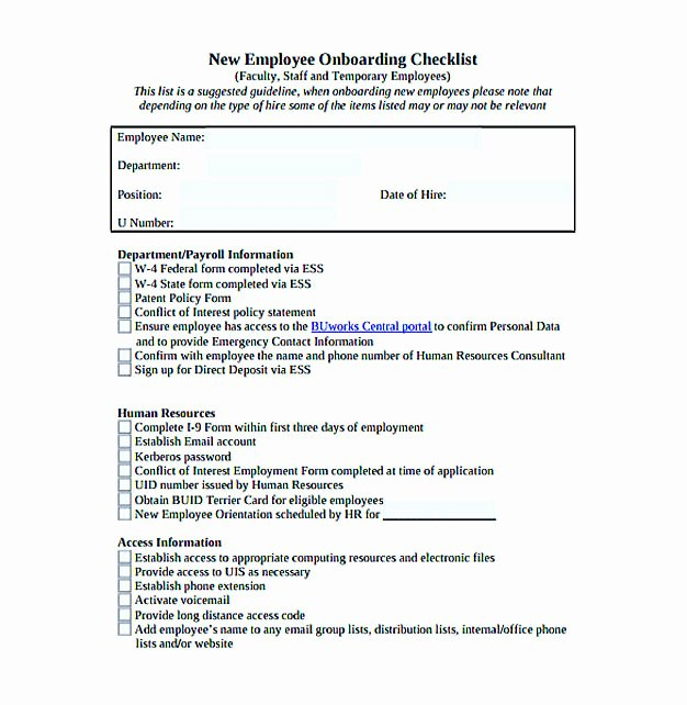 Employee Onboarding Checklist Template Unique Checklist Template Easy and Helpful tools for You
