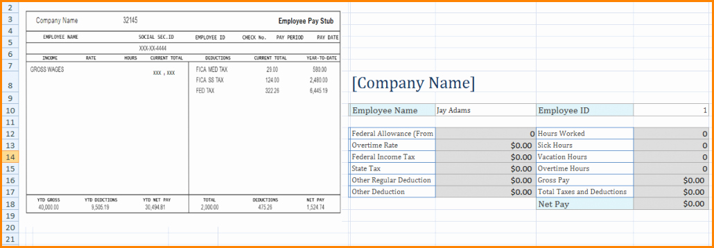 Employee Pay Stub Template Free Beautiful 6 Microsoft Excel Pay Stub Template