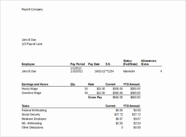 Employee Pay Stub Template Free Lovely 62 Free Pay Stub Templates Downloads Word Excel Pdf Doc