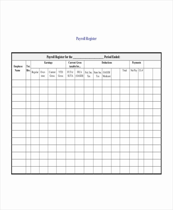 Employee Payroll Ledger Template Awesome Payroll Register Template 7 Free Word Excel Pdf