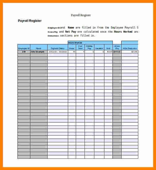 Employee Payroll Ledger Template Lovely 8 Payroll Ledger form