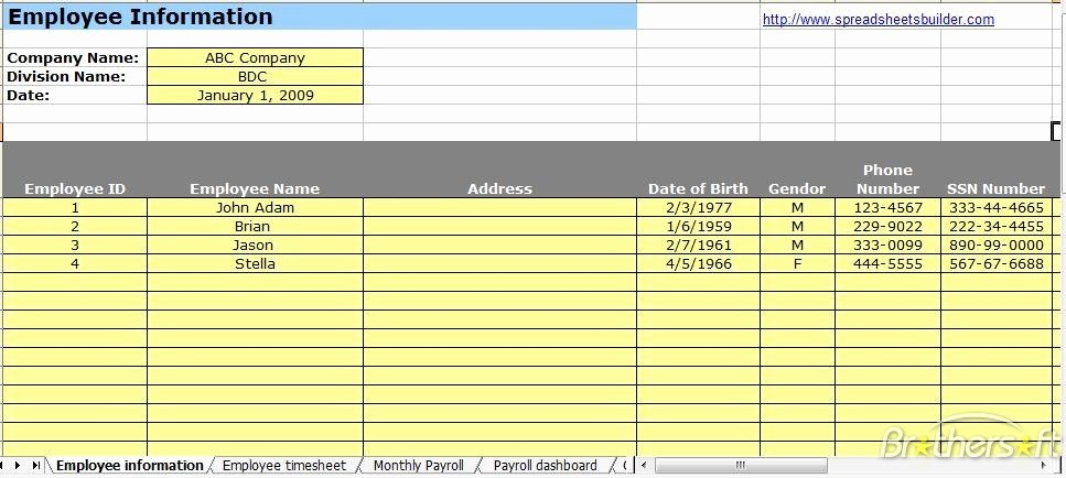 Employee Payroll Ledger Template Luxury Employee Information Payroll Ledger Template Spreadsheet