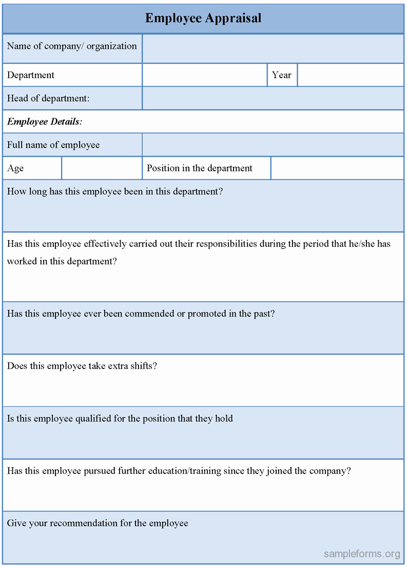Employee Performance Appraisal form Template Awesome Employee Evaluation form Sample Doc Free Resume Samples