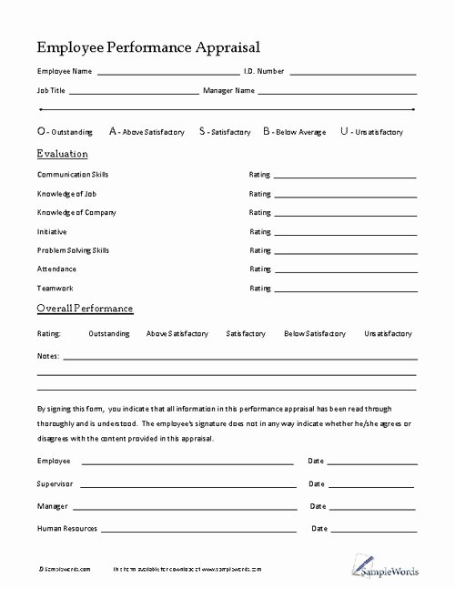 Employee Performance Appraisal form Template Awesome Employee Performance Appraisal