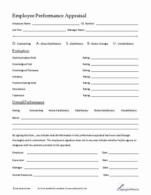 Employee Performance Appraisal form Template Awesome Employee Performance Appraisal