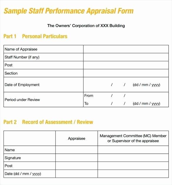 Employee Performance Appraisal form Template Beautiful Job Performance Appraisal Template Employee Report Written