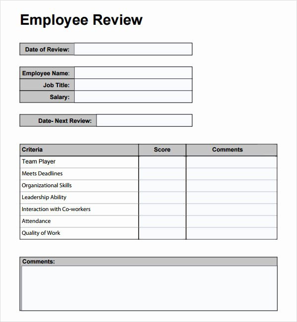 Employee Performance Appraisal form Template Elegant Employee Review Template