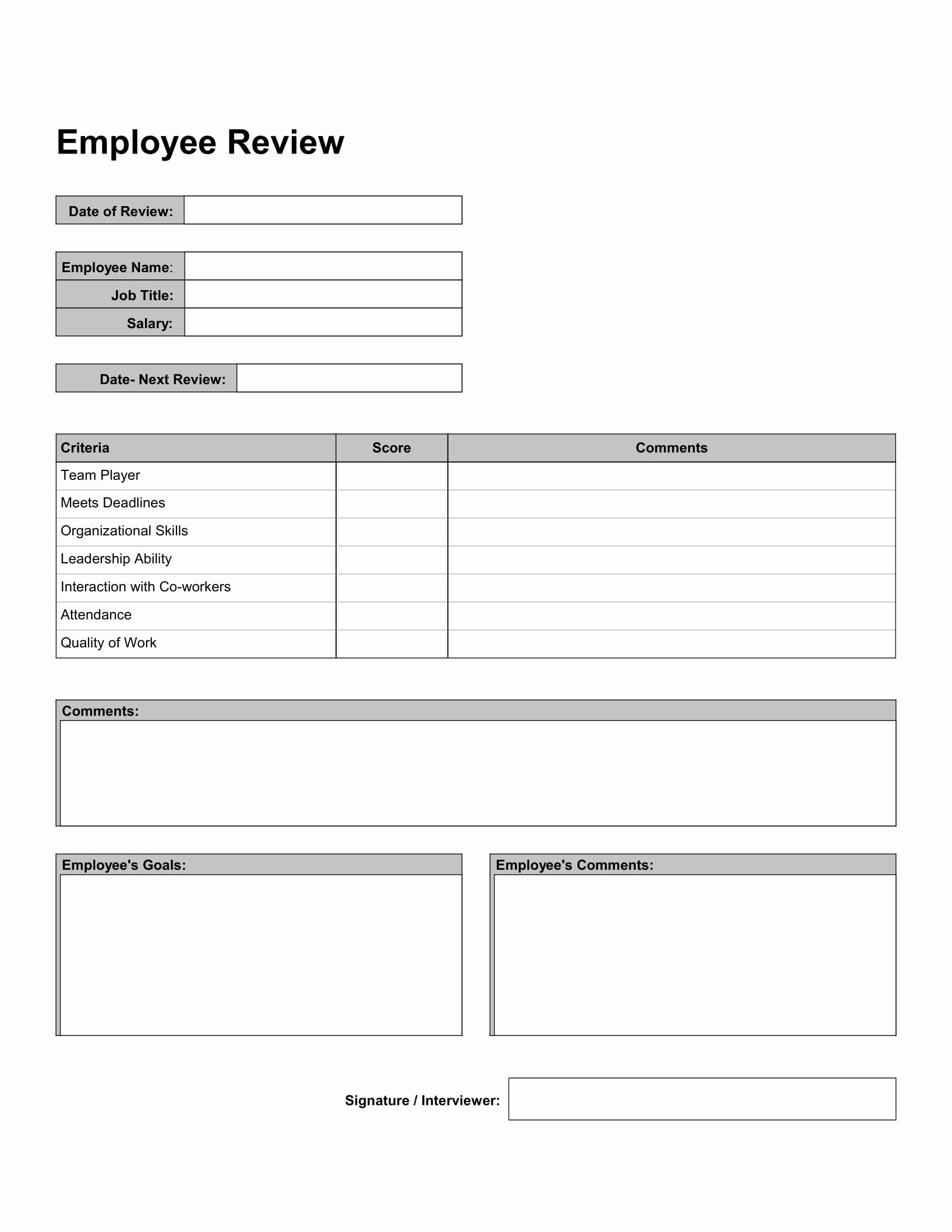Employee Performance Appraisal form Template Fresh 10 Work Review forms Free Word Pdf format Download