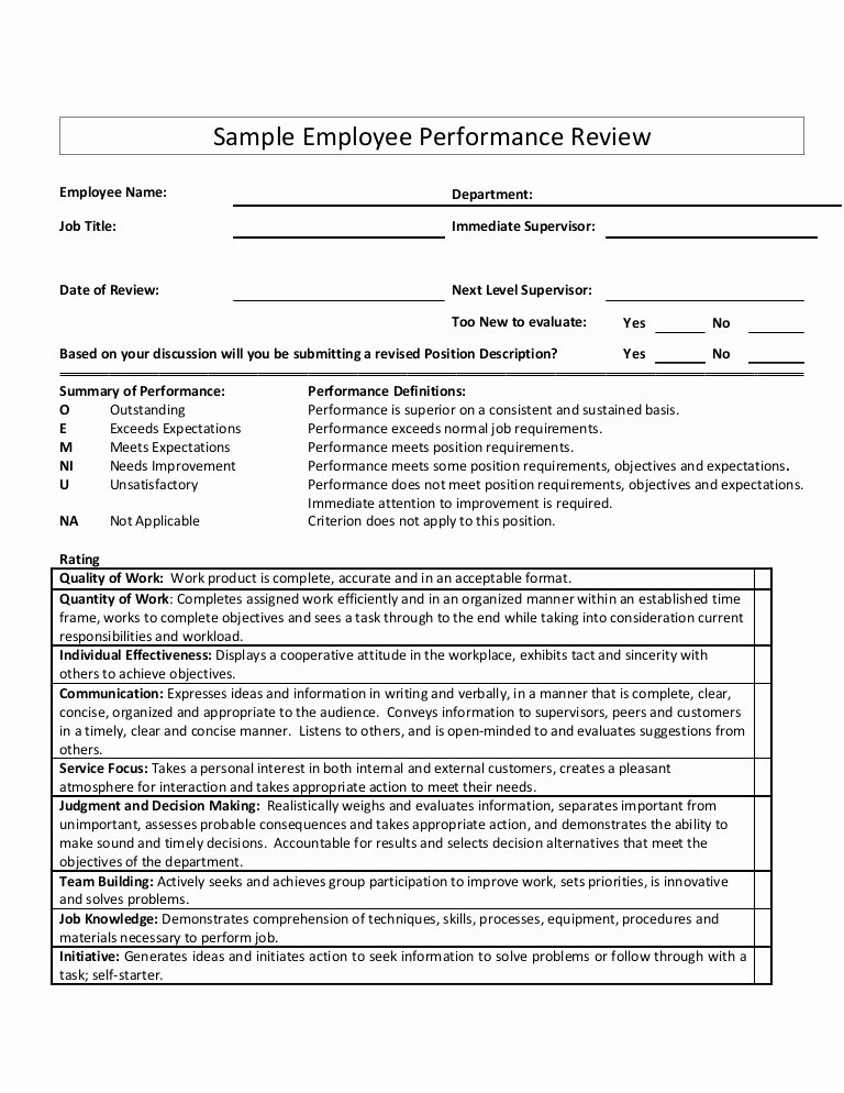 Employee Performance Appraisal form Template Inspirational Sample Employee Performance Review