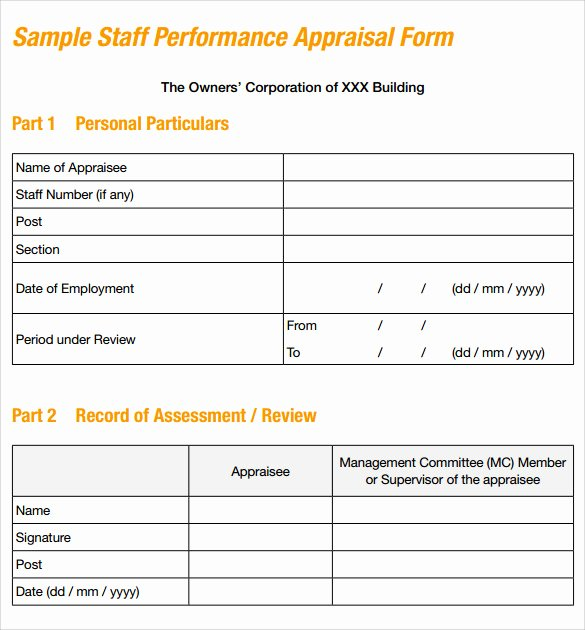 Employee Performance Appraisal form Template Luxury 8 Sample Job Performance Evaluation forms
