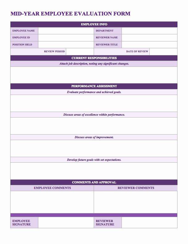 Employee Performance Appraisal form Template Luxury Free Employee Performance Review Templates Smartsheet