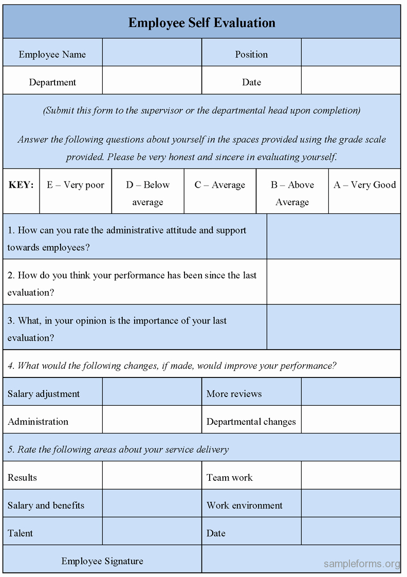Employee Performance Appraisal form Template Unique Employee Self Evaluation form Sample forms