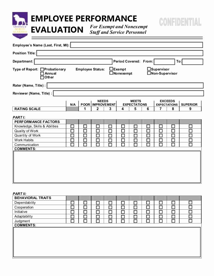 Employee Performance Evaluation Template Elegant Employee Performance Evaluation form