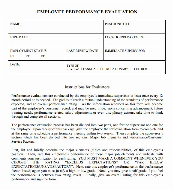Employee Performance Evaluation Template Fresh 8 Performance Evaluation Samples Templates Examples