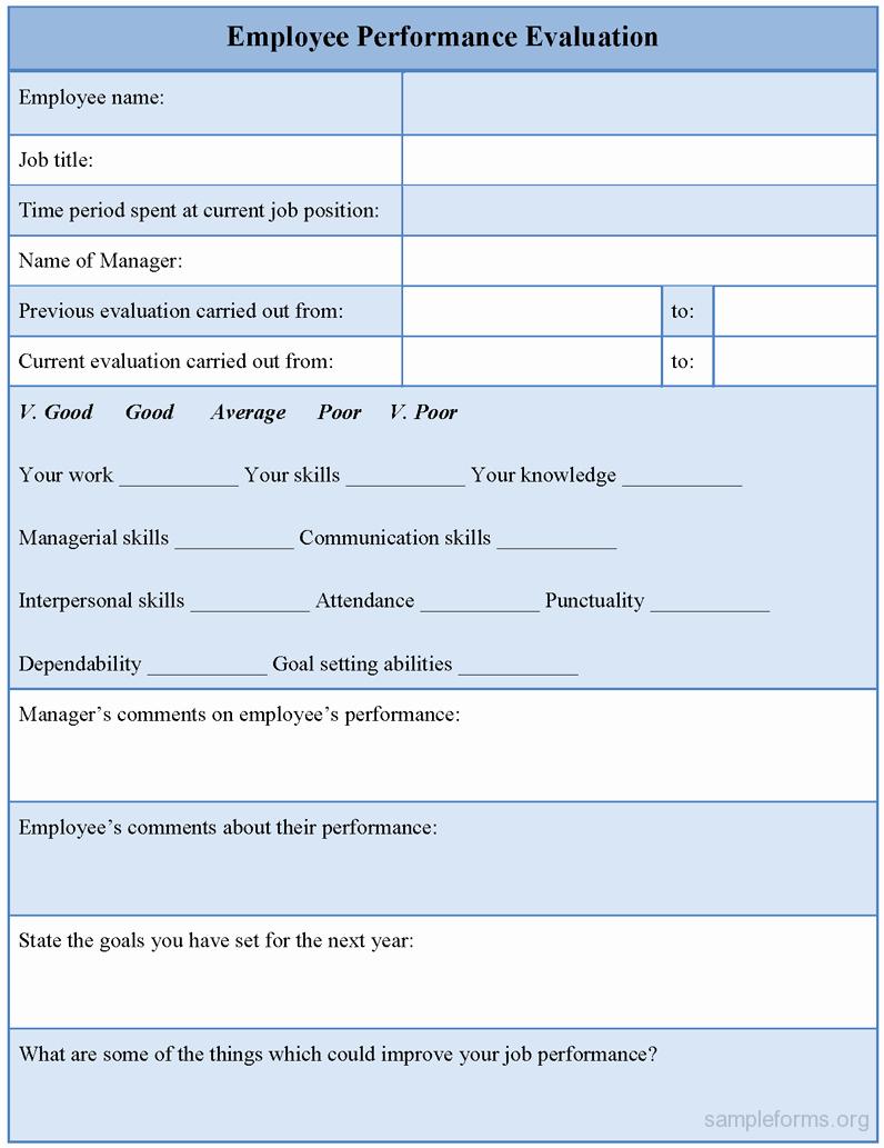 Employee Performance Evaluation Template Fresh Employee Performance Review Template Free Frompo