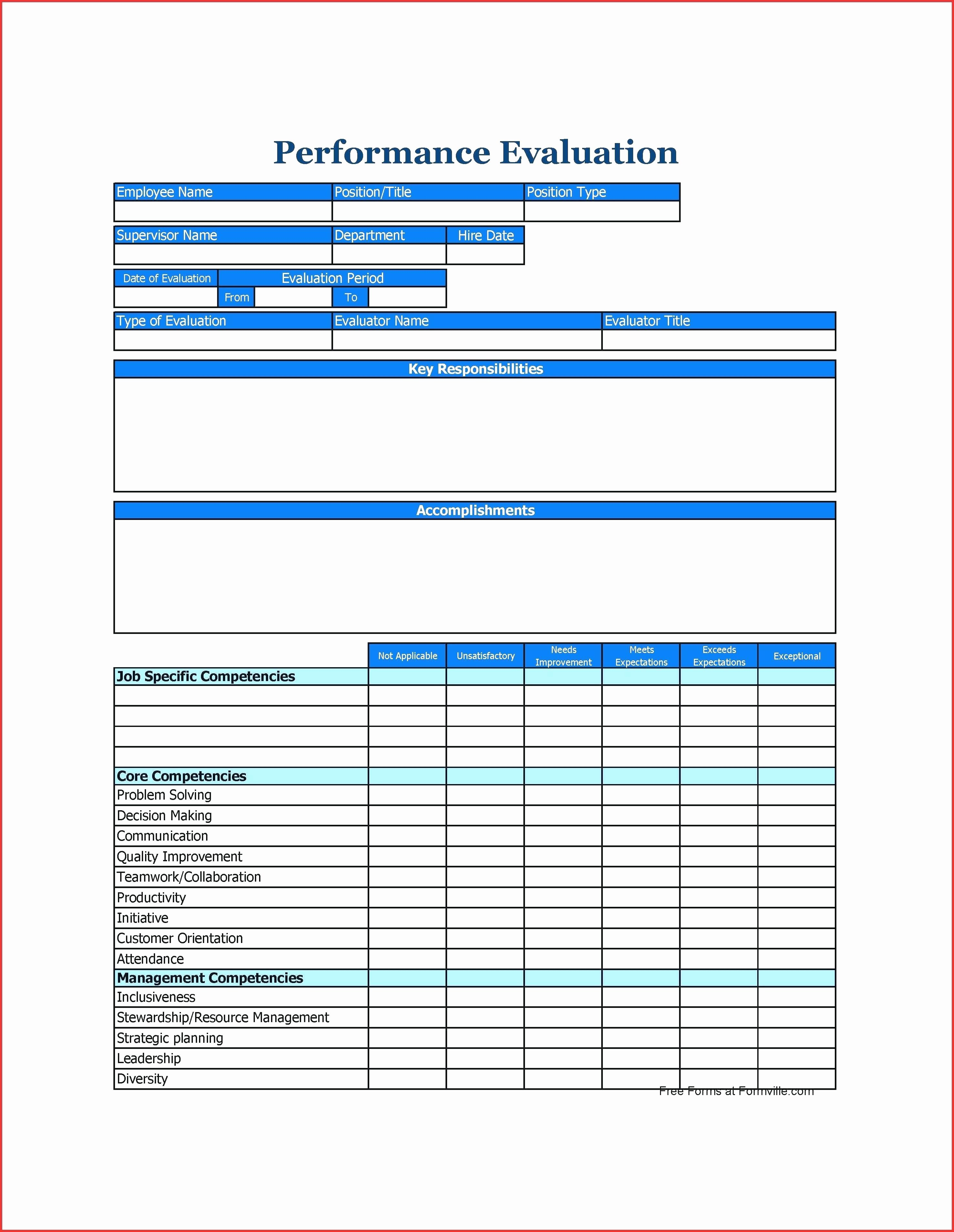 Employee Performance Evaluation Template New Template Staff Appraisal form Template